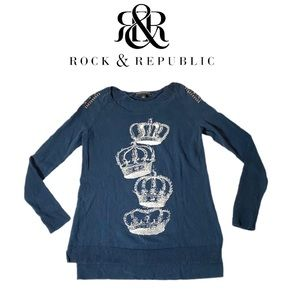 Rock & Republic Crown Navy Blue Sweater